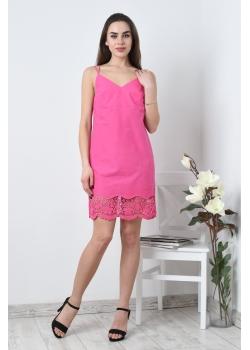 Платье комбинация фуксия с кружевом
