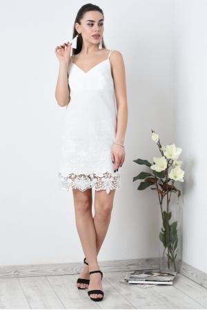 Платье комбинация из белого льна с кружевом