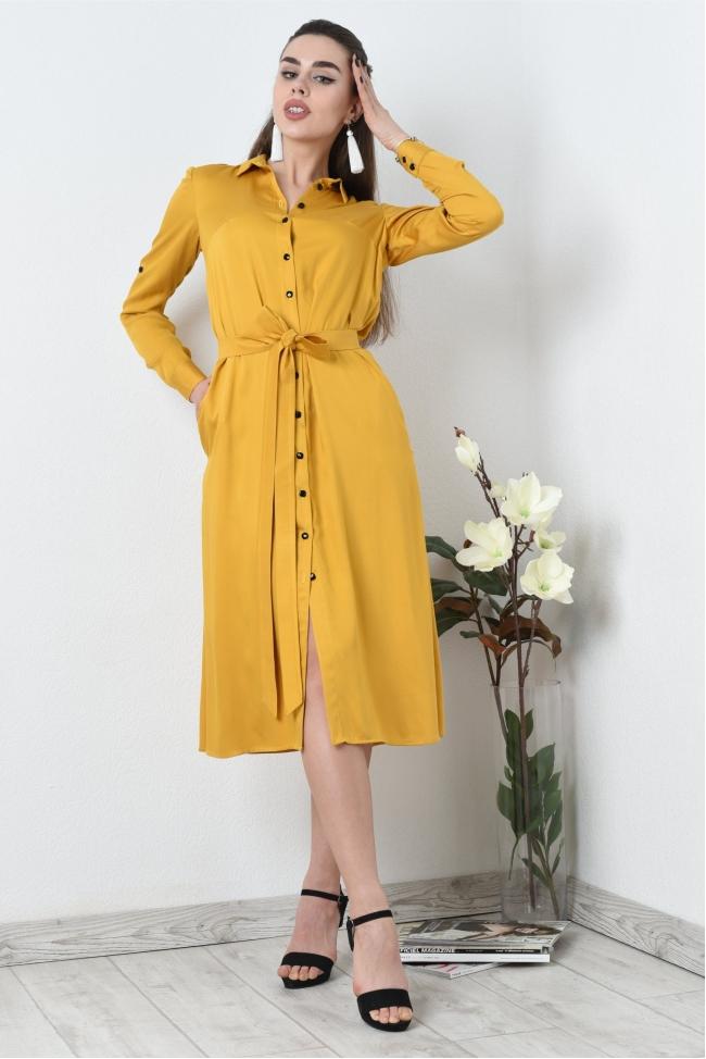Свободное платье рубашка из полированного хлопка