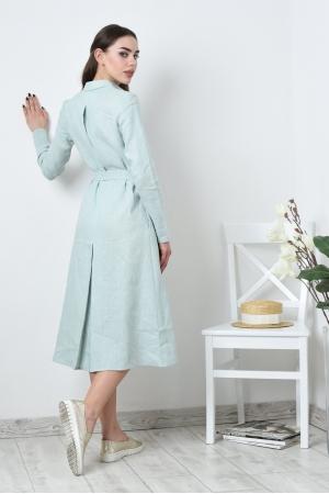 Удлиненное льняное платье рубашка со свободным рукавом