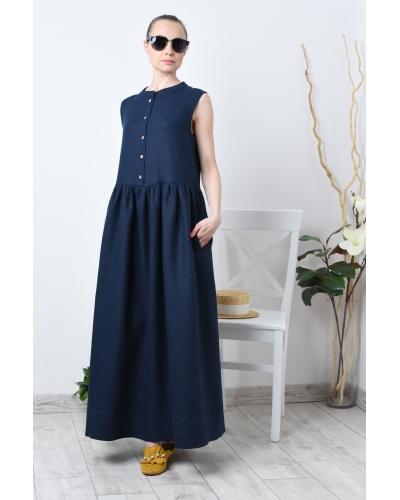 Длинное льняное платье без рукава