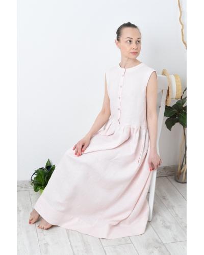 Льняное макси платье без рукава