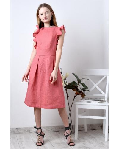 Платье льняное с завязками на спинке