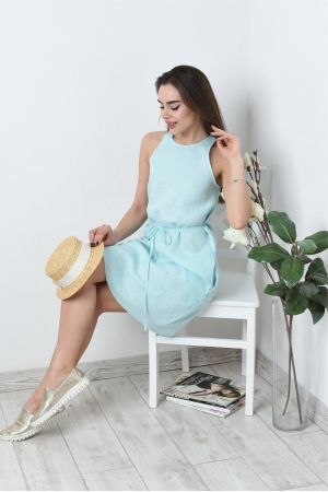 Льняное летнее платье свободное с поясом