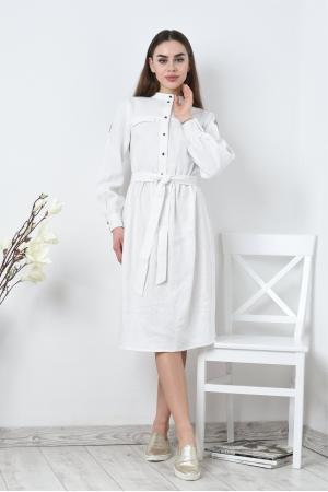 Платье льняное с рукавами