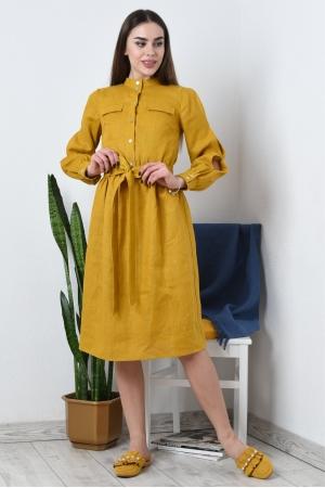 Льняное платье с длинными рукавами
