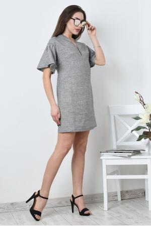 Свободное платье из льна с рукавом воланом