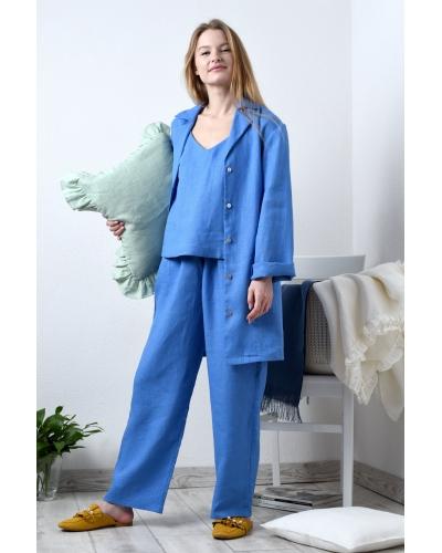 Женская льняная пижама тройка