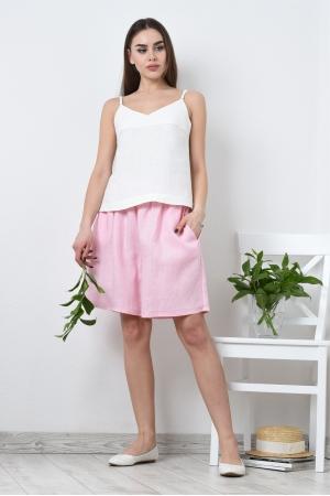 Пижама женская из льна топ и свободные шорты