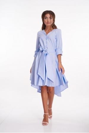 Голубое платье из хлопка удлиненное