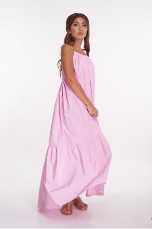 Длинный сарафан из хлопка в розовую полоску