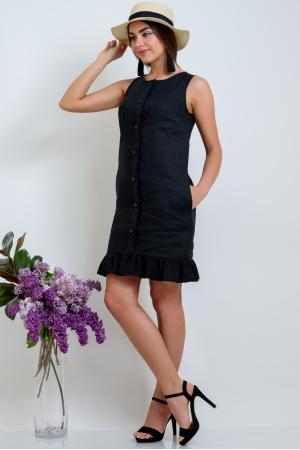 Платье из льна прямое с воланом черное