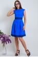 Платье льняное электрик с синим кружевом