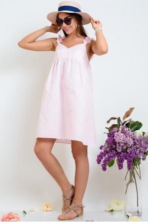 Розовый льняной сарафан рюш