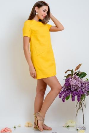 Платье трапеция жёлтое