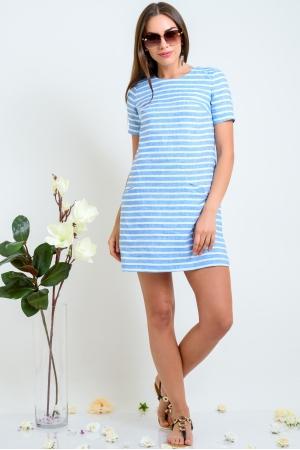 Платье трапеция в голубую полоску