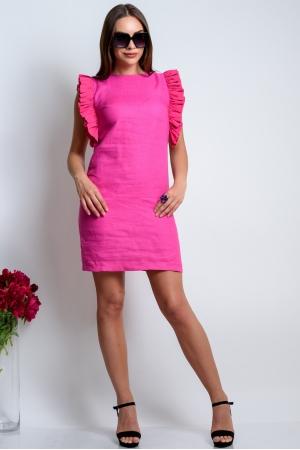 Прямое платье из льна фуксия