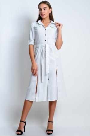Льняное платье-рубашка в полоску