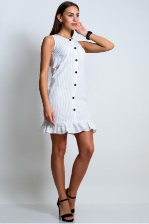Платье из льна прямое с воланом в полоску