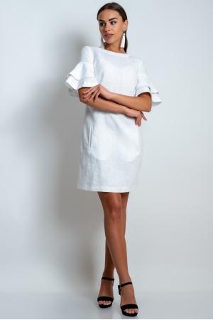 Платье из льна белое с рукавами воланами