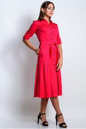 Платье рубашка красное из хлопка