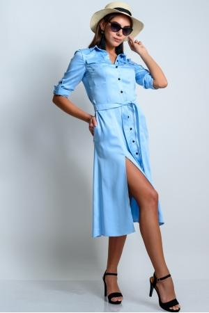 Платье рубашка удлиненное хлопковое голубое