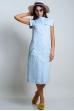 Платье с накладными карманами голубой меланж лён