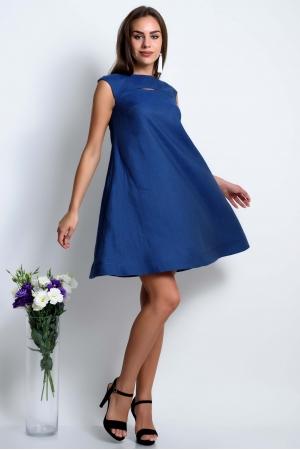 Платье клеш льняное синее