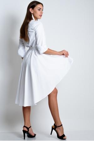 Белое удлиненное платье из хлопка
