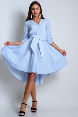 Платье из хлопка удлиненное в голубую полоску
