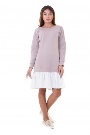 Платье худи с льняной юбкой пудра