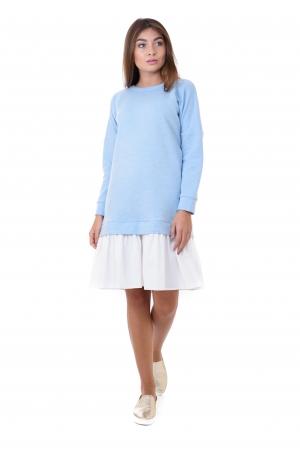 Платье худи с льняной юбкой голубое