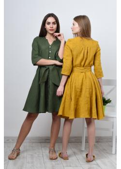 Льняное свободное платье с поясом