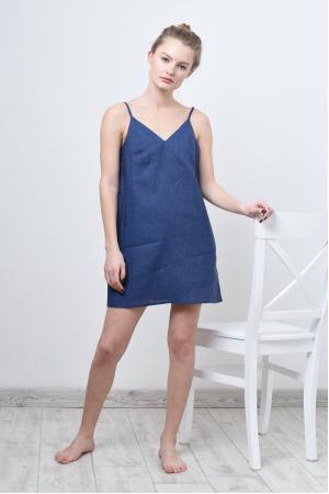 Мини платье комбинация из льна