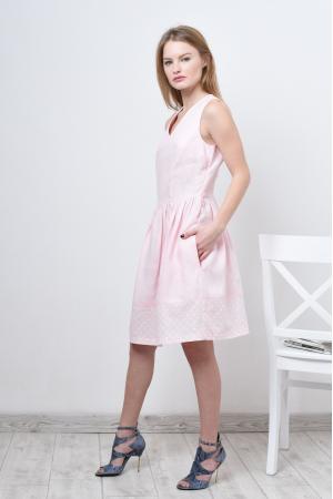 Платье льняное розовое с пышной юбкой