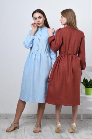 Платье из льна с длинным рукавом