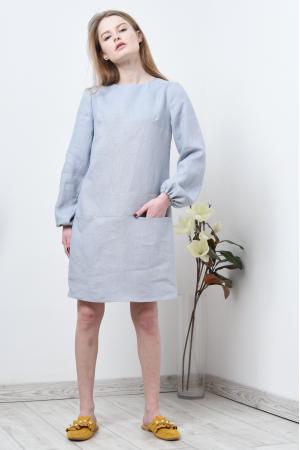 Платье льняное со свободным рукавом