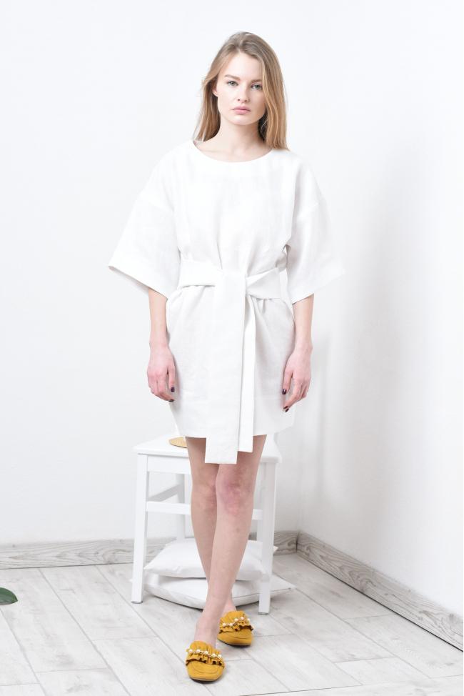 Платье туника кимоно из льна