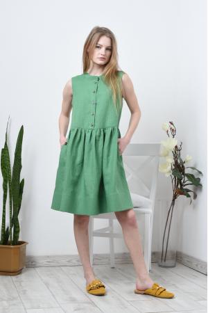 Льняное свободное платье без рукава