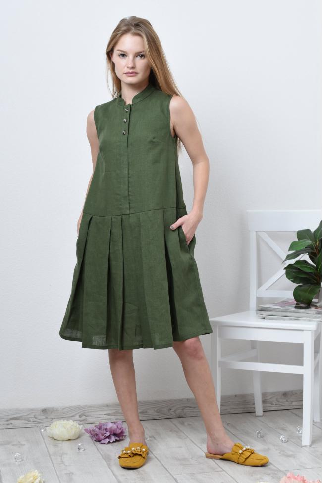 Платье рубашка с юбкой в складку
