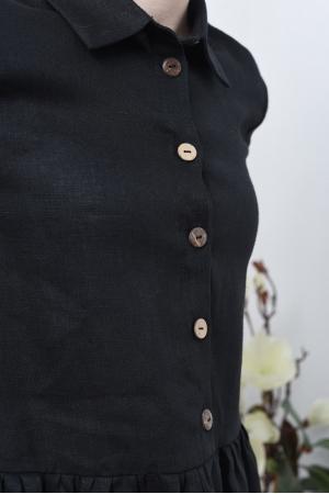 Льняное свободное платье рубашка