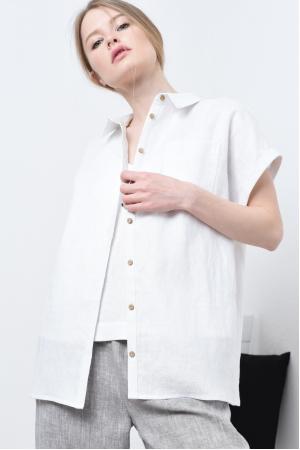 Свободная удлиненная рубашка из льна